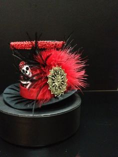 Red and Black Skull Pirate Mini Top Hat for Costume, Dress Up, Birthday, Tea Party, Photo Prop and More.