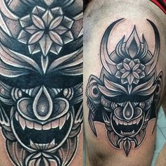 Mens Samurai Mask And Flower Black Ink Tattoo