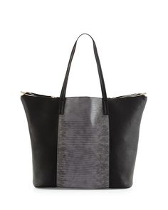NEIMAN MARCUS, Nico Lizard-Embossed Tote Bag, Black/Gray, was $115.00, now $28.00 From Last Call