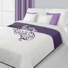 Biely obojstranný prehoz na posteľ s fialovým ornamentom Bed Sheets, Ornament, Pillows, Furniture, Bedding, Home Decor, Crochet, Art, Bed Drapes