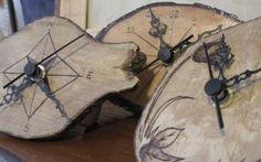 Orologi a tronchetto con decorazione a pirografia!