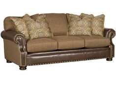 Shop for King Hickory Easton Lthr/Fabric Sofa, 1600-LF, and other Living Room Sofas at Hickory Furniture Mart in Hickory, NC. Seat Cushions: High Resiliency.  Back Pillows: Semi-attached.  Throw Pillows: 4 P21.  Nail Head Trim: Natural.  Standard Finish: Warm Brown (No Finish Options).
