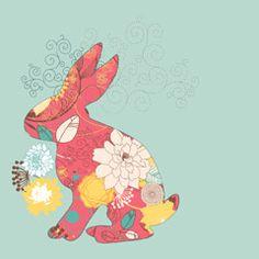 [フリーイラスト素材] イラスト, 背景, 兎 / ウサギ, 花柄, EPS ID:201411021700