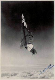 Gloster Javelin photo Signed by Bill Waterton, Gloster's cheif test pilot
