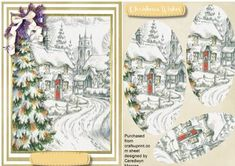 Beautiful Church scene in Cream Pyramid  on Craftsuprint designed by Ceredwyn Macrae - A lovely quick and easy card Pyramid card to make and give to anyone with a lovely church scene has one greeting tag and a blank one ,  - Now available for download!