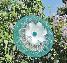 Teal Garden Art Yard Suncatcher UpCycled RePurposed Glass MARCY