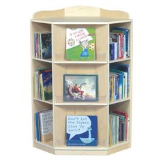 Make use of your hard-to-utilize corner. Three dedicated sections face outward for book display and six sections with four adjustable shelves are perfect for book storage. Colors/finish: Natural Mater                                                                                                                                                                                 More