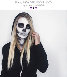 ::Sexy ,easy Halloween skeleton look <<< This skeleton makeup tutorial is AMAZING! Skeleton face makeup is SUPER easy to create at home ( it seems overwhelming but trust me, it's not ). Firstly, this look was inspired by cutie Lauren Paul on Instagram. She is so beautiful & I loved how she rocked this with a casual men's black hooded sweater.::