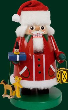 Traditional Natural Wood Nutcracker Santa Clause with Swarovski crystal, 8.4 inches Authentitec