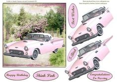 Think Pink T Bird with Decoupage Card Topper on Craftsuprint - Add To Basket!
