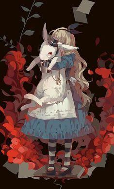 anime styled Alice in Wonderland illustration Disney Kunst, Arte Disney, Disney Art, M Anime, Anime Kawaii, Anime Art, Alice Anime, Dark Anime, Alice Madness