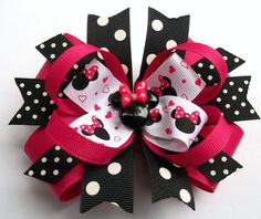 Minnie Boutique Shocking Pink, Black And White Mouse Head  Hair Bow - Baby. Toddler. Girls
