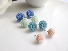 Set of 4 pairs earrings Soft Dusty Pink pompoms Blue by AnnMichy, $26.00