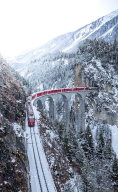 Does anyone else think this train through Switzerland is the real-life Polar Express? Places To Travel, Places To See, Travel Destinations, Train Tracks, Train Rides, Paradise Places, Winter Scenery, Beautiful Landscapes, Trip Planning