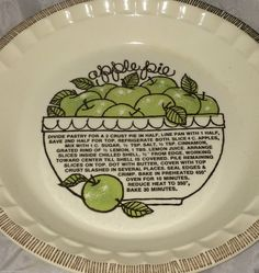 Lovely even baking pie plate from Royal China Jeannette with Apple Pie Recipe imprinted on the inside. Great vintage condition with no chips : plate pies - pezcame.com