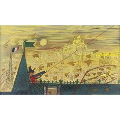 "Artwork by Ludwig Bemelmans, ""In the Autumn Wind He Boasted, That He Flew the Highest Kite"", Made of gouache and black ink on artist's board"