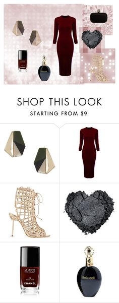 #red wine by slounis on Polyvore featuring moda, WithChic, Sophia Webster, Alexander McQueen, Topshop, Roberto Cavalli, Chanel, women's clothing, women's fashion and women