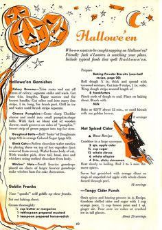 Chronically Vintage: A wonderful selection of 1950s Halloween recipes