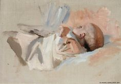 Laying Child - Albert Edelfelt - The Athenaeum Painting For Kids, Figure Painting, Painting & Drawing, Art For Kids, Children Painting, Art Children, National Gallery, Baby Images, Portraits