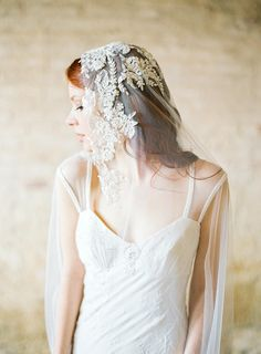 Ivory Beaded Lace Bridal Veil by sibodesigns