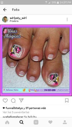 Little Girl Nails, Girls Nails, Girls Nail Designs, Toe Nail Designs, Toe Nail Art, Toe Nails, Butterfly Makeup, Nail Effects, Spring Nails