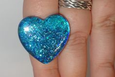 Blue Sparkle Heart Ring