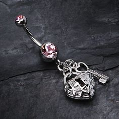 Puffed Heart Lock & Key Charm Dangle Belly Ring