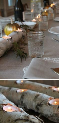 Birch Log Fire Light  | 25 DIY Winter Wedding Ideas on a Budget | DIY Winter Wedding Decorations