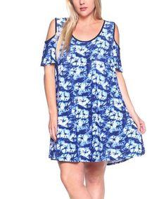 Love this Royal Blue Tie-Dye Cutout Shift Dress - Plus on #zulily! #zulilyfinds