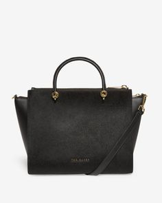 Large textured leather zip tote bag - Black | Bags | Ted Baker