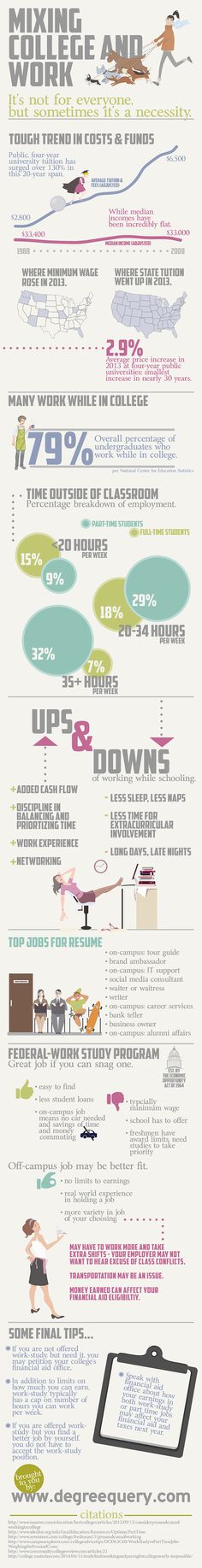 Mixing College and Work #Infographic. Finding ways to balance work and school can be tough!