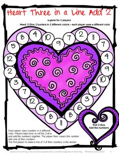 Heart Math Board Game - perfect for Valentine's Day from Valentines Day Math, Games, Puzzles and Brain Teasers from Games 4 Learning. $
