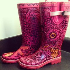Hand Drawn Sharpie Boots Doodle Rain Boots by TheTastefulHooker, $39.50