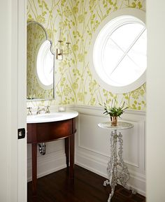 Sarah Richardson designed powder room with classic decor, round window, bold wallpaper, and wainscot Sarah Richardson, Laundry In Bathroom, Small Bathroom, Bathroom Ideas, Master Bathrooms, Bath Ideas, Small Sink, White Bathrooms, Luxury Bathrooms