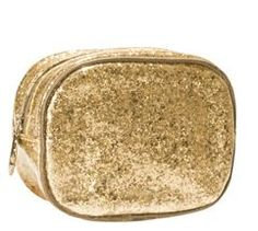 """This festive golden clutch bag for holiday bling is lined in brown nylon with brown matte satin piping trim.   Bag Size: 6""""w x 4.5""""h x 2.5""""d Available at Kirkwood Pharmacy 302-384-6384"""