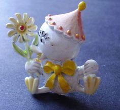 Vintage Spring EASTER Chick Figural Enameled Brooch