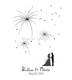 42x52CM Firework Design Wedding Fingerprint Tree Guest Book Personalize Guestbook Wedding Decorations enfeites de casamento