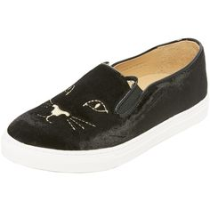 Charlotte Olympia Cool Cats Sneakers (666 AUD) ❤ liked on Polyvore featuring shoes, sneakers, black, rubber sole shoes, black slip-on sneakers, black shoes, slip-on shoes and black slip on sneakers