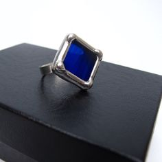 "Ultramarine blue stained glass ring shipped to Canada! My ""Sapphire Glow"" pendant features the same brilliant blue colored glass."