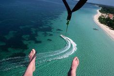 Parasailing off Negril, Jamaica
