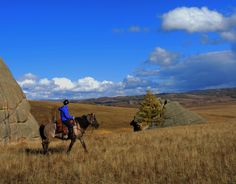 Horse Riding in Mongolia is a great adventure experience. Autumn horse trekking in Gorkhi Terelj National Park with Stone Horse Expeditions & Travel. #Mongolia, #Horse, #Riding, #Vacations. www.stonehorsemongolia.com