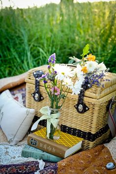 A picnic lunch, pillows, a blanket and books...heaven!