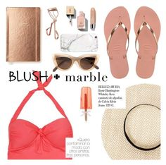 """""""blush + marble"""" by sanddollardubai ❤ liked on Polyvore featuring Kate Spade, Tweezerman, Sunseeker, Yves Saint Laurent, Quay, Clinique, russell+hazel and Whiteley"""