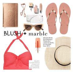 """blush + marble"" by sanddollardubai ❤ liked on Polyvore featuring Havaianas, Kate Spade, Tweezerman, Sunseeker, Yves Saint Laurent, Quay, Clinique, russell+hazel and Whiteley"