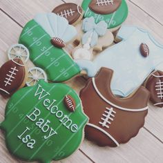 BABY SHOWER~Football themed baby shower cookies by Luckygirlcookies Baby Boy Football, Football Baby Shower, Sports Baby, Baby Shower Fun, Baby Shower Gender Reveal, Baby Shower Themes, Shower Party, Baby Shower Decorations, Shower Ideas