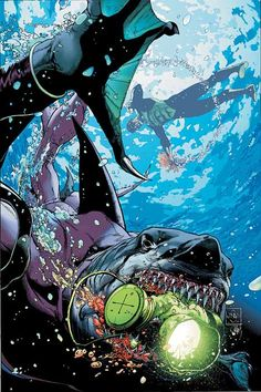 Green Lantern and King Shark by Ethan Van Sciver