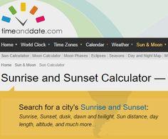 Sunrise and Sunset Calculator