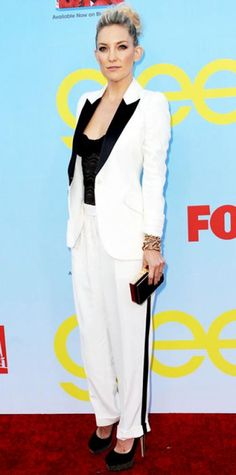 Look of the Day › September 13, 2012 WHAT SHE WORE Hudson screened the Glee premiere in a white Alexander McQueen suit that she paired with a lace camisole, gold clutch and studded Brian Atwood platforms.