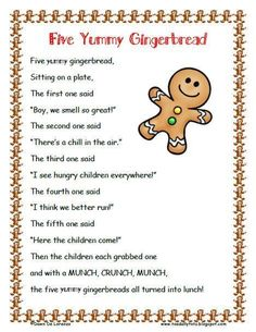 FREE Five Yummy Gingerbread Poem & Roll and Graph product from Toadally-Tots on TeachersNotebook . Gingerbread Man Activities, Christmas Activities, Winter Activities, Preschool Christmas Songs, Preschool Winter, Kids Christmas Poems, Holiday Poems, Children Activities, Christmas Quotes