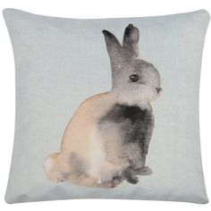 M&Co Waterclour Bunny Cushion ($29) ❤ liked on Polyvore featuring home, home decor, throw pillows, duck egg, bunny home decor, square throw pillows, m&co, graphic throw pillows and rabbit home decor